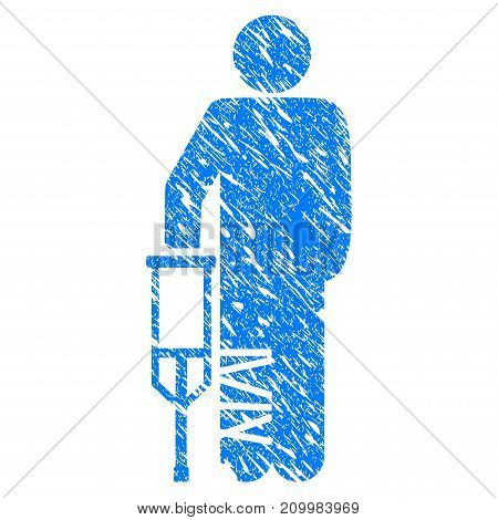 Grunge Broken Leg Patient icon with scratched design and dust texture. Unclean vector blue Broken Leg Patient pictogram for rubber seal stamp imitations and watermarks. Draft sticker symbol.