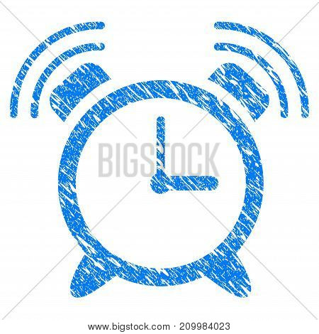 Grunge Buzzer icon with scratched design and dust texture. Unclean vector blue Buzzer pictogram for rubber seal stamp imitations and watermarks. Draft sticker symbol.