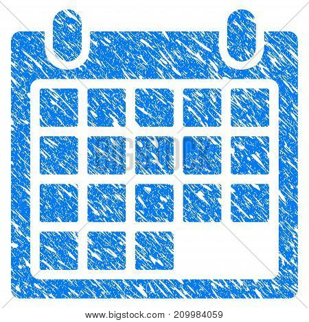 Grunge Calendar Sheet icon with scratched design and dust texture. Unclean vector blue Calendar Sheet pictogram for rubber seal stamp imitations and watermarks. Draft emblem symbol.