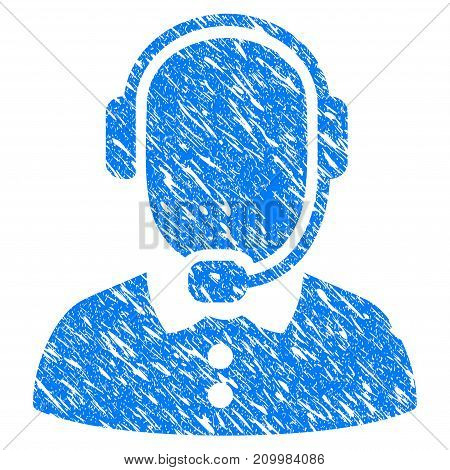 Grunge Call Center icon with scratched design and scratched texture. Unclean vector blue Call Center pictogram for rubber seal stamp imitations and watermarks. Draft emblem symbol.