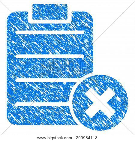 Grunge Cancel Test icon with scratched design and grungy texture. Unclean vector blue Cancel Test pictogram for rubber seal stamp imitations and watermarks. Draft sticker symbol.
