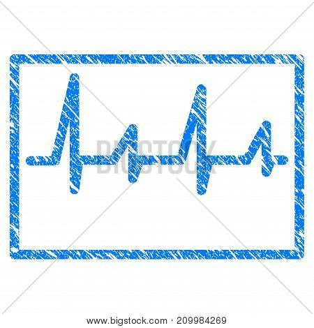 Grunge Cardiogram icon with scratched design and dirty texture. Unclean vector blue Cardiogram pictogram for rubber seal stamp imitations and watermarks. Draft emblem symbol.