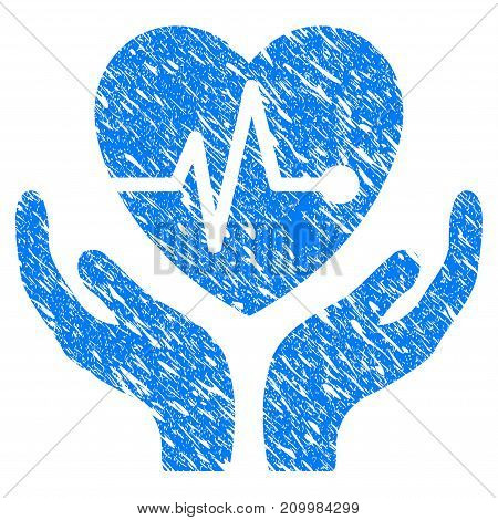 Grunge Cardiology Care Hands icon with scratched design and unclean texture. Unclean vector blue Cardiology Care Hands pictogram for rubber seal stamp imitations and watermarks. Draft sticker symbol.