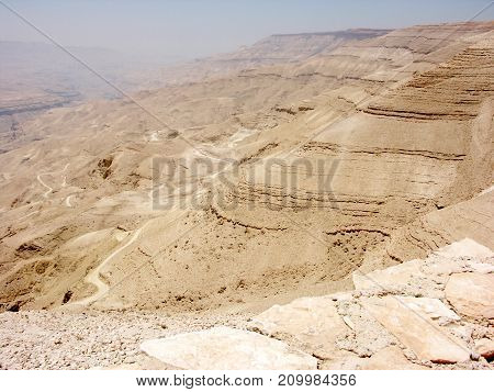 Landscape view of Jordanian Valley from mount Nebo in Jordan with israel border view