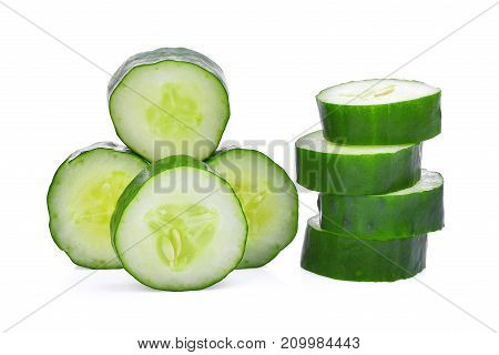 slice of fresh japanese cucumber suhyo or zucchini isolated on white background healthy vegetables