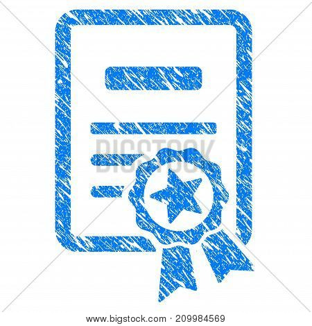 Grunge Certificate icon with scratched design and scratched texture. Unclean vector blue Certificate pictogram for rubber seal stamp imitations and watermarks. Draft sign symbol.