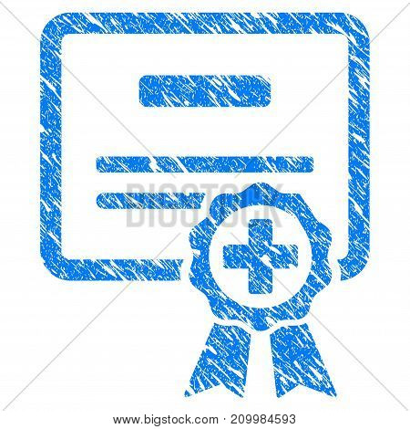 Grunge Certification icon with scratched design and unclean texture. Unclean vector blue Certification pictogram for rubber seal stamp imitations and watermarks. Draft sign symbol.