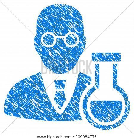 Grunge Chemist icon with scratched design and grungy texture. Unclean vector blue Chemist pictogram for rubber seal stamp imitations and watermarks. Draft emblem symbol.