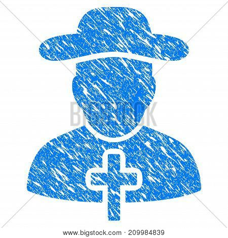 Grunge Christian Priest icon with scratched design and dirty texture. Unclean vector blue Christian Priest pictogram for rubber seal stamp imitations and watermarks. Draft emblem symbol.