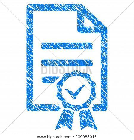 Grunge Contract Document icon with scratched design and dust texture. Unclean vector blue Contract Document pictogram for rubber seal stamp imitations and watermarks. Draft sticker symbol.