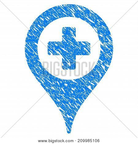 Grunge Cross Map Marker icon with scratched design and unclean texture. Unclean vector blue Cross Map Marker pictogram for rubber seal stamp imitations and watermarks. Draft sticker symbol.