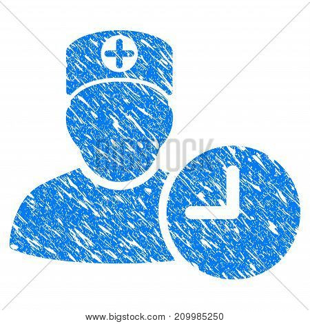 Grunge Doctor Appointment Clock icon with scratched design and dirty texture. Unclean vector blue Doctor Appointment Clock pictogram for rubber seal stamp imitations and watermarks. Draft sign symbol.