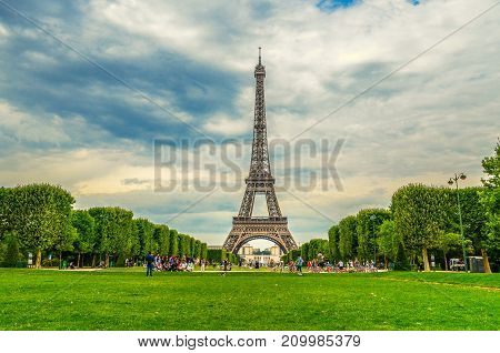 Eiffel Tower in Paris, France. Champs elysees