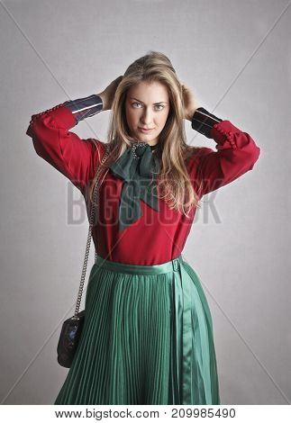 Blonde woman wearing fashionable clothes