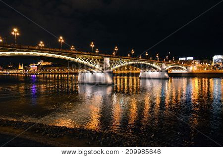 summer night in Budapest, Hungary. Margaret bridge