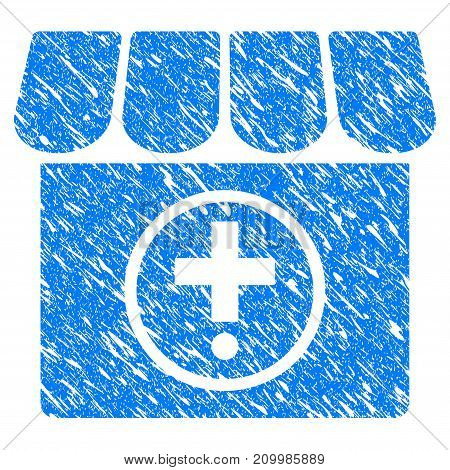 Grunge Drugstore icon with scratched design and grungy texture. Unclean vector blue Drugstore pictogram for rubber seal stamp imitations and watermarks. Draft sticker symbol.