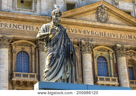 Statue of St. Peter near Papal Basilica of St. Peter in the Vatican