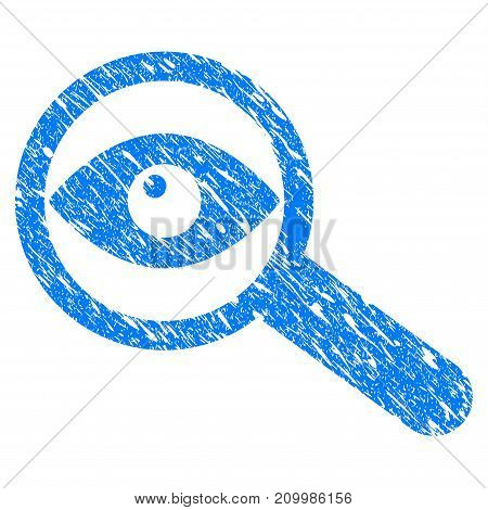 Grunge Examine Eye icon with scratched design and unclean texture. Unclean vector blue Examine Eye pictogram for rubber seal stamp imitations and watermarks. Draft emblem symbol.
