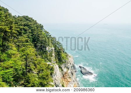 A beautiful view of sea and cliff at Korea