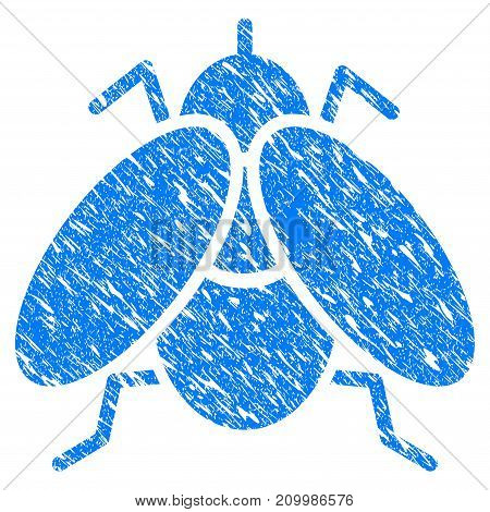 Grunge Fly Insect icon with scratched design and dust texture. Unclean vector blue Fly Insect pictogram for rubber seal stamp imitations and watermarks. Draft emblem symbol.