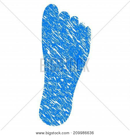 Grunge Foot icon with scratched design and scratched texture. Unclean vector blue Foot pictogram for rubber seal stamp imitations and watermarks. Draft sticker symbol.