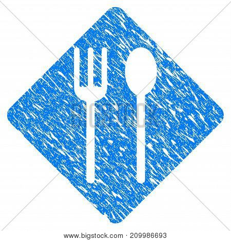 Grunge Fork And Spoon icon with scratched design and unclean texture. Unclean vector blue Fork And Spoon pictogram for rubber seal stamp imitations and watermarks. Draft sticker symbol.