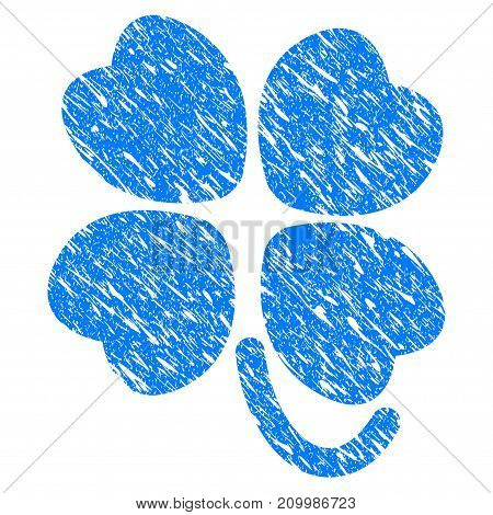 Grunge Four-Leafed Clover icon with scratched design and dust texture. Unclean vector blue Four-Leafed Clover pictogram for rubber seal stamp imitations and watermarks. Draft sign symbol.