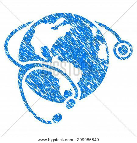 Grunge Global Healthcare Stethoscope icon with scratched design and unclean texture. Unclean vector blue Global Healthcare Stethoscope pictogram for rubber seal stamp imitations and watermarks.