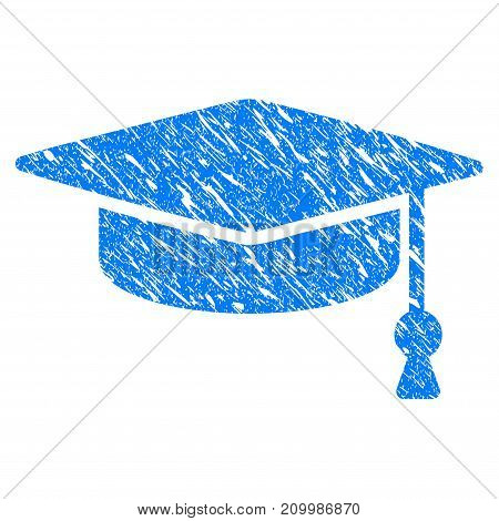 Grunge Graduation Cap icon with scratched design and grungy texture. Unclean vector blue Graduation Cap pictogram for rubber seal stamp imitations and watermarks. Draft emblem symbol.