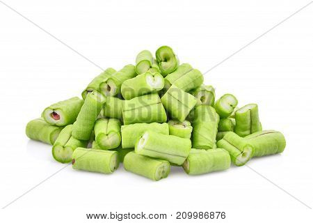 slice of yard long bean isolated on white background