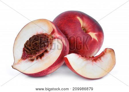 whole and half wiht slice of nectarine fruit isolated on whitie background