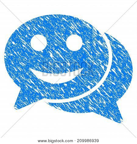 Grunge Happy Chat icon with scratched design and dust texture. Unclean vector blue Happy Chat pictogram for rubber seal stamp imitations and watermarks. Draft sign symbol.