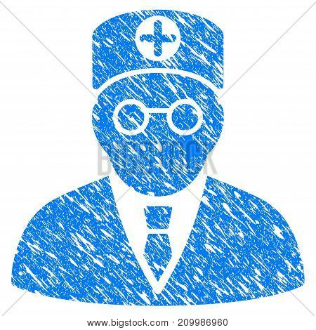 Grunge Head Physician icon with scratched design and dust texture. Unclean vector blue Head Physician pictogram for rubber seal stamp imitations and watermarks. Draft sticker symbol.