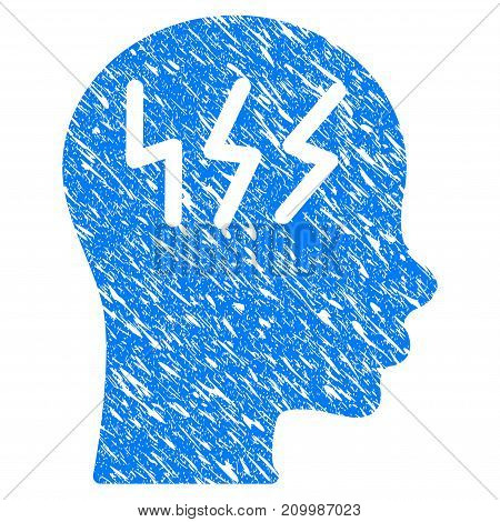 Grunge Headache icon with scratched design and grungy texture. Unclean vector blue Headache pictogram for rubber seal stamp imitations and watermarks. Draft emblem symbol.