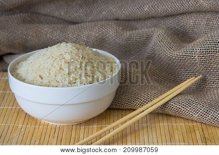 Rice In White Ceramic Bowl Close Up