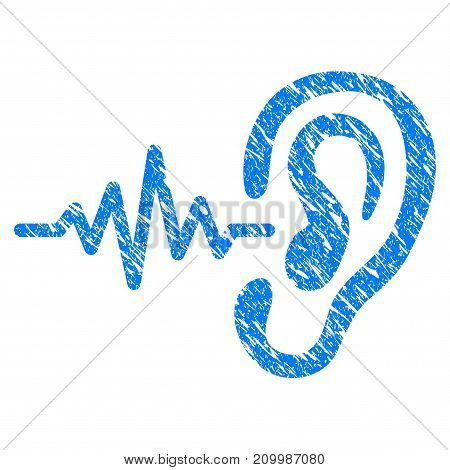 Grunge Hearing Signal icon with scratched design and scratched texture. Unclean vector blue Hearing Signal pictogram for rubber seal stamp imitations and watermarks. Draft emblem symbol.