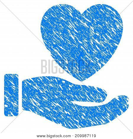Grunge Heart Care Hand icon with scratched design and scratched texture. Unclean vector blue Heart Care Hand pictogram for rubber seal stamp imitations and watermarks. Draft sign symbol.