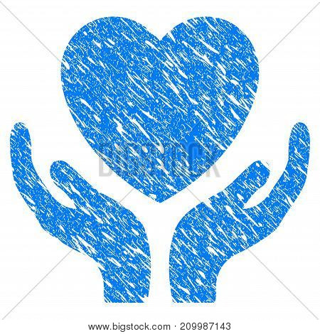 Grunge Heart Care Hands icon with scratched design and dust texture. Unclean vector blue Heart Care Hands pictogram for rubber seal stamp imitations and watermarks. Draft sticker symbol.