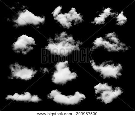 collection of whtie clouds isolated on black background