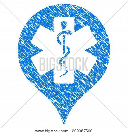 Grunge Hospital Map Marker icon with scratched design and unclean texture. Unclean vector blue Hospital Map Marker pictogram for rubber seal stamp imitations and watermarks. Draft sign symbol.
