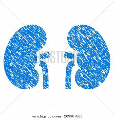 Grunge Kidneys icon with scratched design and unclean texture. Unclean vector blue Kidneys pictogram for rubber seal stamp imitations and watermarks. Draft sign symbol.