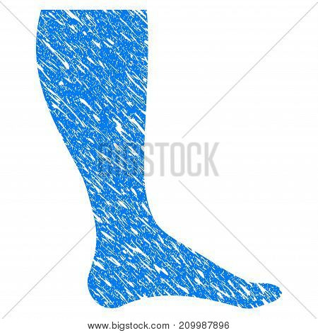 Grunge Leg icon with scratched design and dirty texture. Unclean vector blue Leg pictogram for rubber seal stamp imitations and watermarks. Draft emblem symbol.