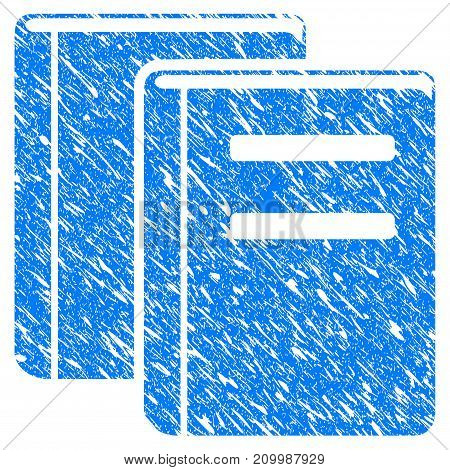 Grunge Library Books icon with scratched design and dirty texture. Unclean vector blue Library Books pictogram for rubber seal stamp imitations and watermarks. Draft emblem symbol.
