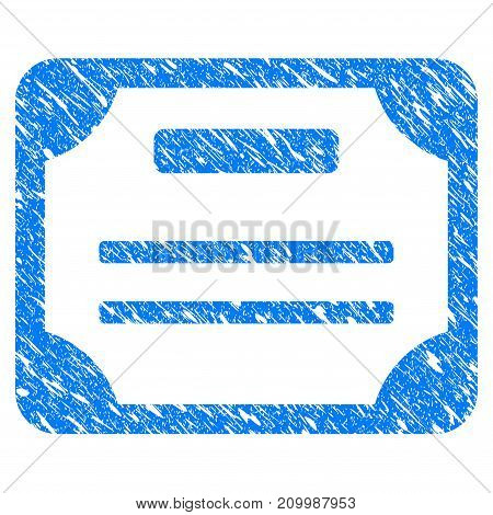 Grunge License icon with scratched design and grungy texture. Unclean vector blue License pictogram for rubber seal stamp imitations and watermarks. Draft sign symbol.