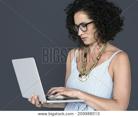 Caucasian Woman Casual Laptop Working