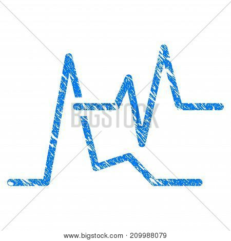 Grunge Line Graphs icon with scratched design and dust texture. Unclean vector blue Line Graphs pictogram for rubber seal stamp imitations and watermarks. Draft emblem symbol.