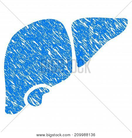 Grunge Liver icon with scratched design and scratched texture. Unclean vector blue Liver pictogram for rubber seal stamp imitations and watermarks. Draft sticker symbol.