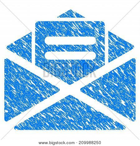 Grunge Mail icon with scratched design and dirty texture. Unclean vector blue Mail pictogram for rubber seal stamp imitations and watermarks. Draft sticker symbol.