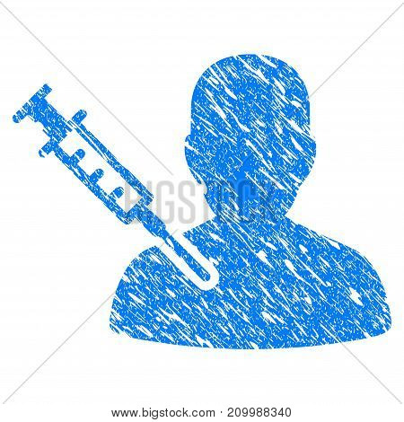 Grunge Man Vaccination icon with scratched design and scratched texture. Unclean vector blue Man Vaccination pictogram for rubber seal stamp imitations and watermarks. Draft sticker symbol.