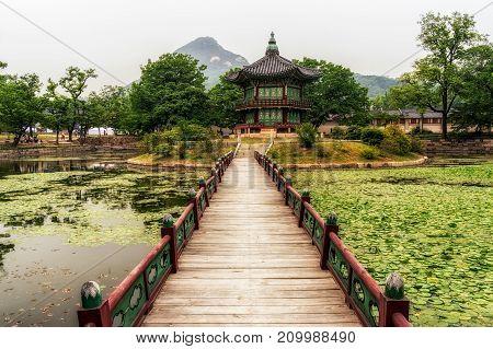 Hyangwonjeong Pavilion In Summer